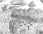 Corey Drawings - Cliffs and Clouds by Corey Finney