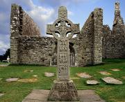 Stone Carvings Prints - Clonmacnoise, Co. Offaly, Ireland Print by The Irish Image Collection