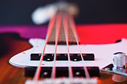 Bass Bridge Prints - Close Up Of Bass Guitar Print by Daniel Grill