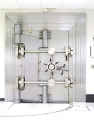 Saving Prints - Closed Bank Vault Door Print by Adam Crowley