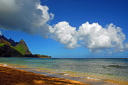Tunnels Beach Prints - Clouds Over Kauai Print by Lynn Bauer