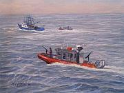 Law Enforcement Paintings - Coast Guard In Pursuit by William H RaVell III