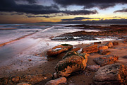 Storm Clouds; Sunset; Twilight; Water Metal Prints - Coastline at twilight Metal Print by Carlos Caetano