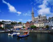 Docked Boat Posters - Cobh Cathedral & Harbour, Co Cork Poster by The Irish Image Collection