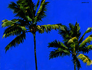 Blue Skies Prints - Coconut Palms 3 Print by Douglas Simonson