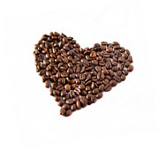 Coffee Beans Framed Prints - Coffee Heart Framed Print by Linde Townsend