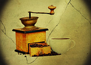 Stimulant Posters - Coffee Mill And Beans In Grunge Style Poster by Michal Boubin