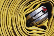 Not In Use Photo Metal Prints - Coiled Fire Hose Metal Print by Skip Nall