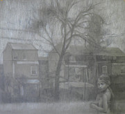 Abandoned Houses Drawings Metal Prints - Colleen Metal Print by Aurelia Burnham