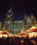 Town Square Prints - Cologne Cathedral And Christmas Market Print by Axiom Photographic