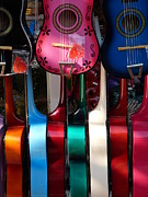 Toy Guitar Posters - Colorful Guitars Poster by Jeff Lowe