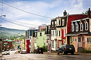 Wires Posters - Colorful houses in Newfoundland Poster by Elena Elisseeva