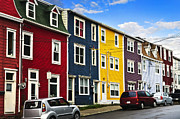 Wires Posters - Colorful houses in St. Johns Newfoundland Poster by Elena Elisseeva