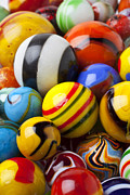 Round Photo Prints - Colorful marbles Print by Garry Gay