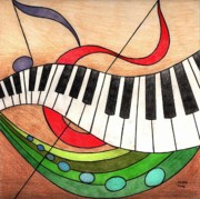 Stained Drawings - Colorful Music by Michelle Young