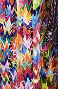 Handcrafted Posters - Colorful Origami Cranes Poster by Jeremy Woodhouse