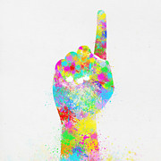 Push Posters - Colorful Painting Of Hand Pointing Finger Poster by Setsiri Silapasuwanchai