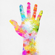 Paper Digital Art Prints - Colorful Painting Of Hand Print by Setsiri Silapasuwanchai