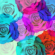 Modern Art Prints - Colorful Roses Design Print by Setsiri Silapasuwanchai