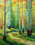Aspen Trees Paintings - Colors Of The Season by David G Paul