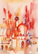 Dome Painting Originals - Colourful Sharjah Souk by Beena Samuel