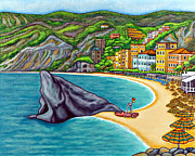 Cinque Terre Paintings - Colours of Monterosso by Lisa  Lorenz