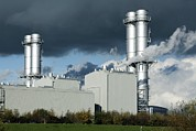 Chimneys Posters - Combined Cycle Gas Turbine Power Station Poster by Martin Bond