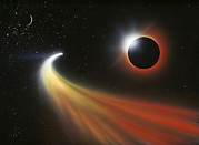 Solar Eclipse Posters - Comet Passing A Planet, Artwork Poster by Richard Bizley