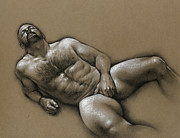 Charcoal Drawings Metal Prints - Comfort  Metal Print by Chris  Lopez