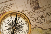 Old Map Photos - Compass and Antique Map by Utah Images