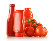 Vegetables Originals - Composition with ketchup and fresh tomatoes isolated on white by T Monticello
