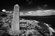 Mile Marker Prints - concrete mile marker post originally erected for the RMS titanic speed trials in Belfast Lough Print by Joe Fox