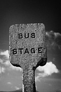 Busstop Prints - Concrete Northern Ireland Road Transport Board 1935 1948 Bus Stage Stop Road Sign Print by Joe Fox
