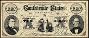 Confederate States Of America Framed Prints - Confederate Banknote Framed Print by Granger