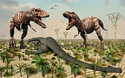 Confrontation Between A Pair Of T. Rex Print by Mark Stevenson