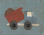 Dump Truck Framed Prints - Construction Dump Truck Nursery Art Framed Print by Katie Carlsruh