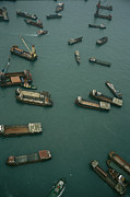 Hong Kong Art - Container Ships In Hong Kong Harbor by Justin Guariglia
