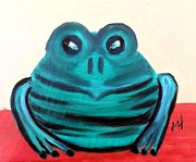 Impressionist Paintings - Contented Male Frog by Margaret Harmon