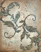 Plaster Painting Posters - Copper Leaves Poster by Chris Brandley