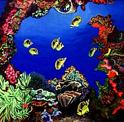 Scuba Paintings - Coral Reef by Brenda Marik-schmidt