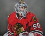 Goalie Drawings Posters - Corey Crawford Poster by Brian Schuster