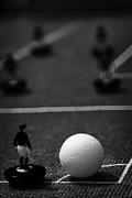 Old English Game Framed Prints - Corner Kick Football Soccer Scene Reinacted With Subbuteo Table Top Football Players Game Framed Print by Joe Fox