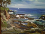 Beautiful Scenery Paintings - Corona Del Mar Beach California by Betsy Mallegg