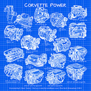 Block Print Art Prints - Corvette Power - Corvette Engines from the Blue Flame Six to the C6 ZR1 LS9 Print by K Scott Teeters