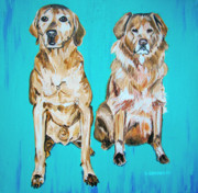 Gold Labrador Paintings - Cory and Logan by Alfredo Coronado