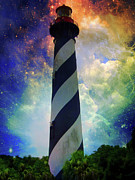 Seacoast Digital Art Prints - Cosmic Lighthouse Print by Wayne Skeen