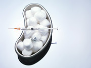 Healthcare And Medicine Art - Cotton Balls And Syringe In Kidney Bowl by Cultura Science/Rafe Swan