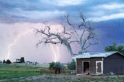 Unusual Lightning Prints - Country Lightning NE Boulder County CO Fine Art Print by James Bo Insogna