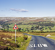 Caution Prints - Country Road with Sign Print by Jon Boyes
