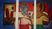 Interaction Paintings - Couple on Window by Shakhenabat Kasana